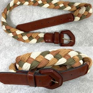 Vintage Express Neutral Woven Braided Rope Belt
